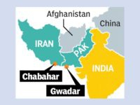 Image of Map of Iran, Pakistan and Afghanistan and the ports of Chabahar and Gwadar